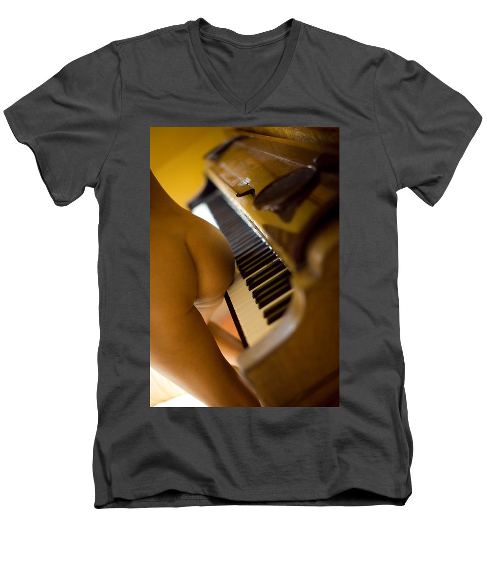 Sensual Men's V-Neck T-Shirt featuring the photograph The Piano by Olivier De Rycke