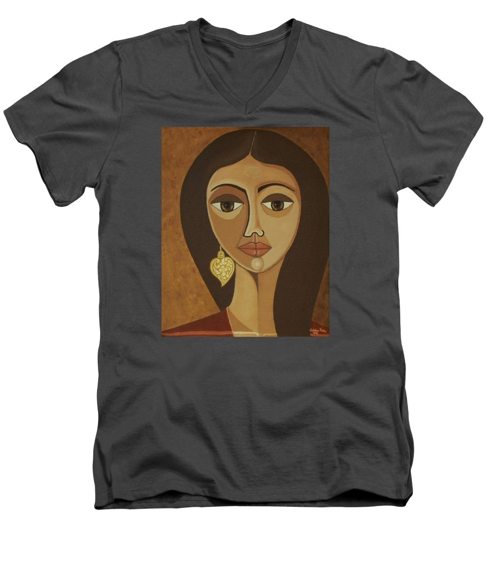 Portuguese Men's V-Neck T-Shirt featuring the painting The Portuguese Earring by Madalena Lobao-Tello