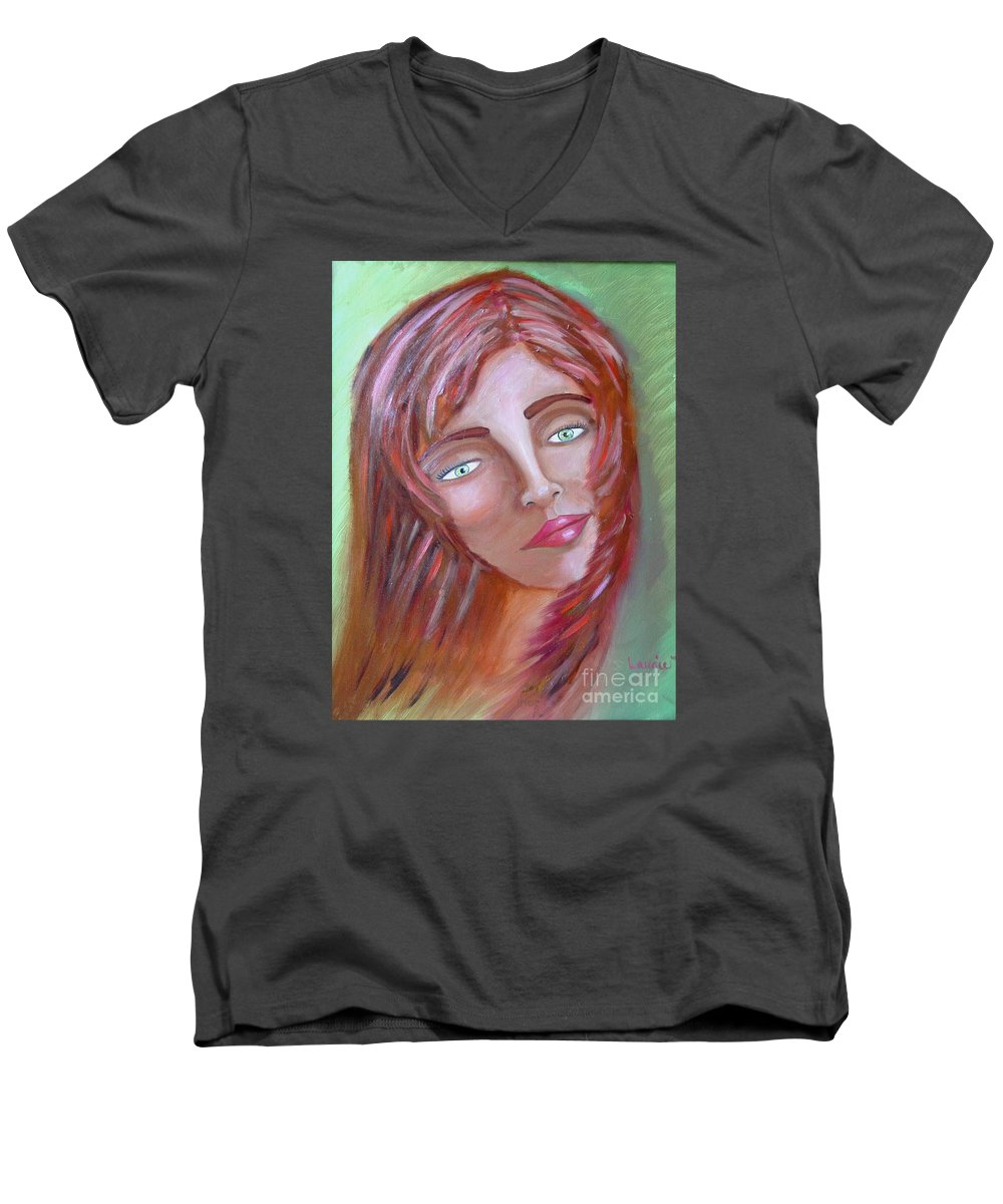 Redheads Men's V-Neck T-Shirt featuring the painting The Redhead by Laurie Morgan