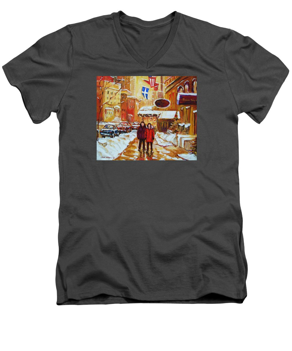 Streetscene Men's V-Neck T-Shirt featuring the painting The Ritz Carlton by Carole Spandau