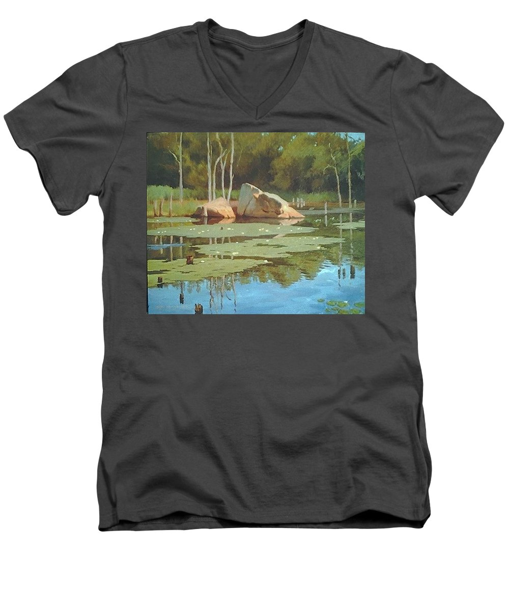 Landscape Men's V-Neck T-Shirt featuring the painting The Rock by Dianne Panarelli Miller