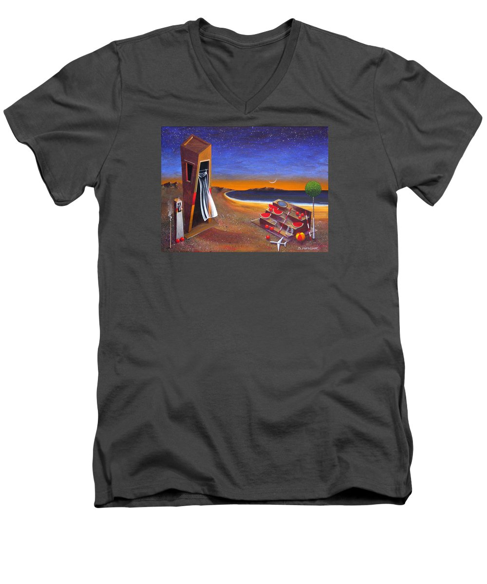 Landscape Men's V-Neck T-Shirt featuring the painting The School Of Metaphysical Thought by Dimitris Milionis
