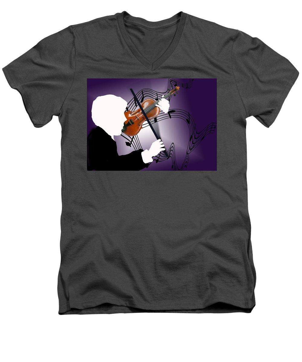 Violin Men's V-Neck T-Shirt featuring the digital art The Soloist by Steve Karol