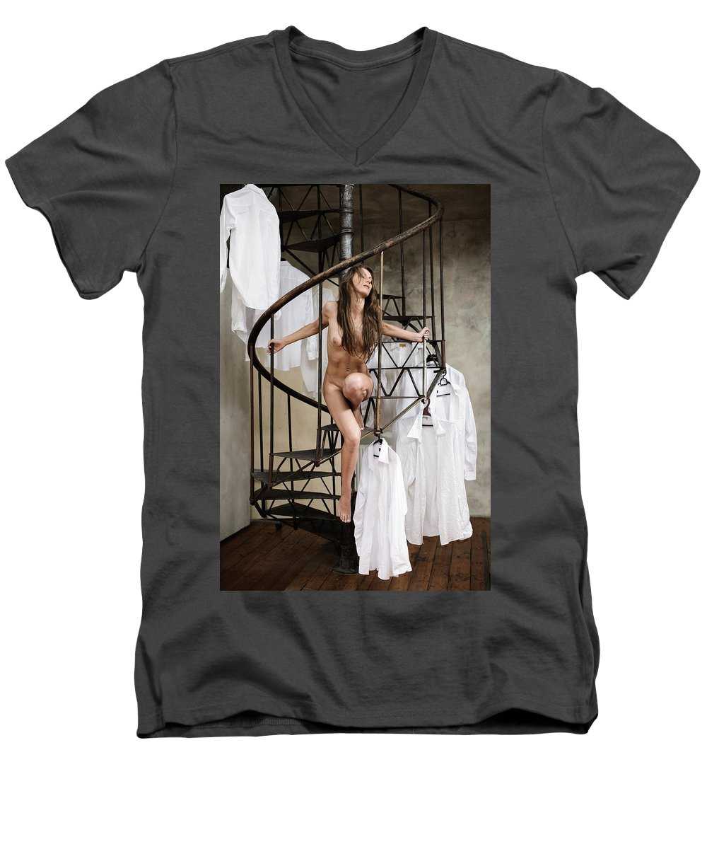Sensual Men's V-Neck T-Shirt featuring the photograph The Stairs by Olivier De Rycke