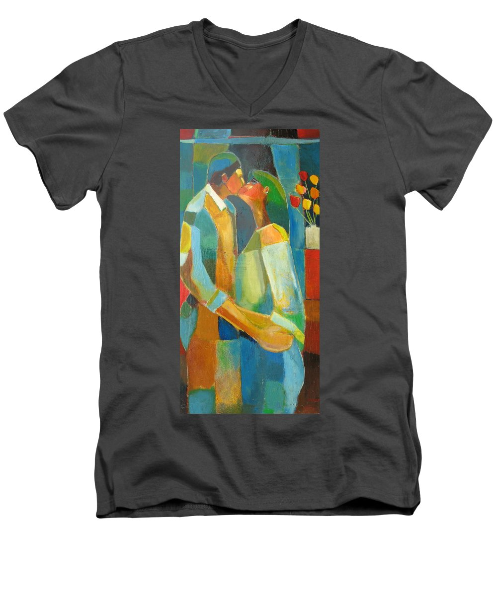 Love Abstract Men's V-Neck T-Shirt featuring the painting The Sweet Kiss by Habib Ayat