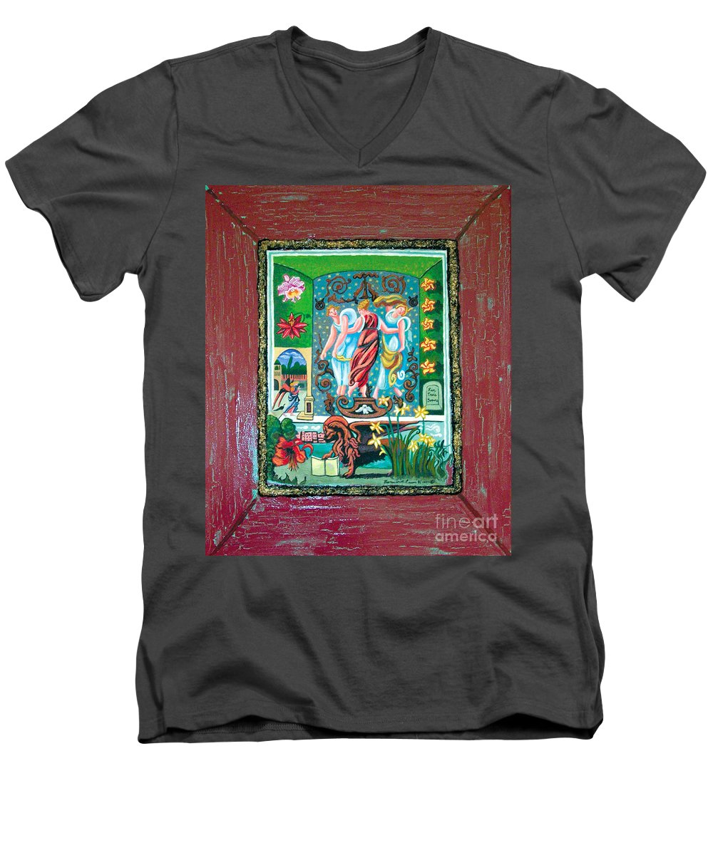 Women Men's V-Neck T-Shirt featuring the painting The Three Sisters by Genevieve Esson