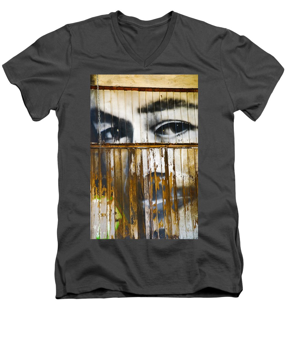 Escondido Men's V-Neck T-Shirt featuring the photograph The Walls Have Eyes by Skip Hunt