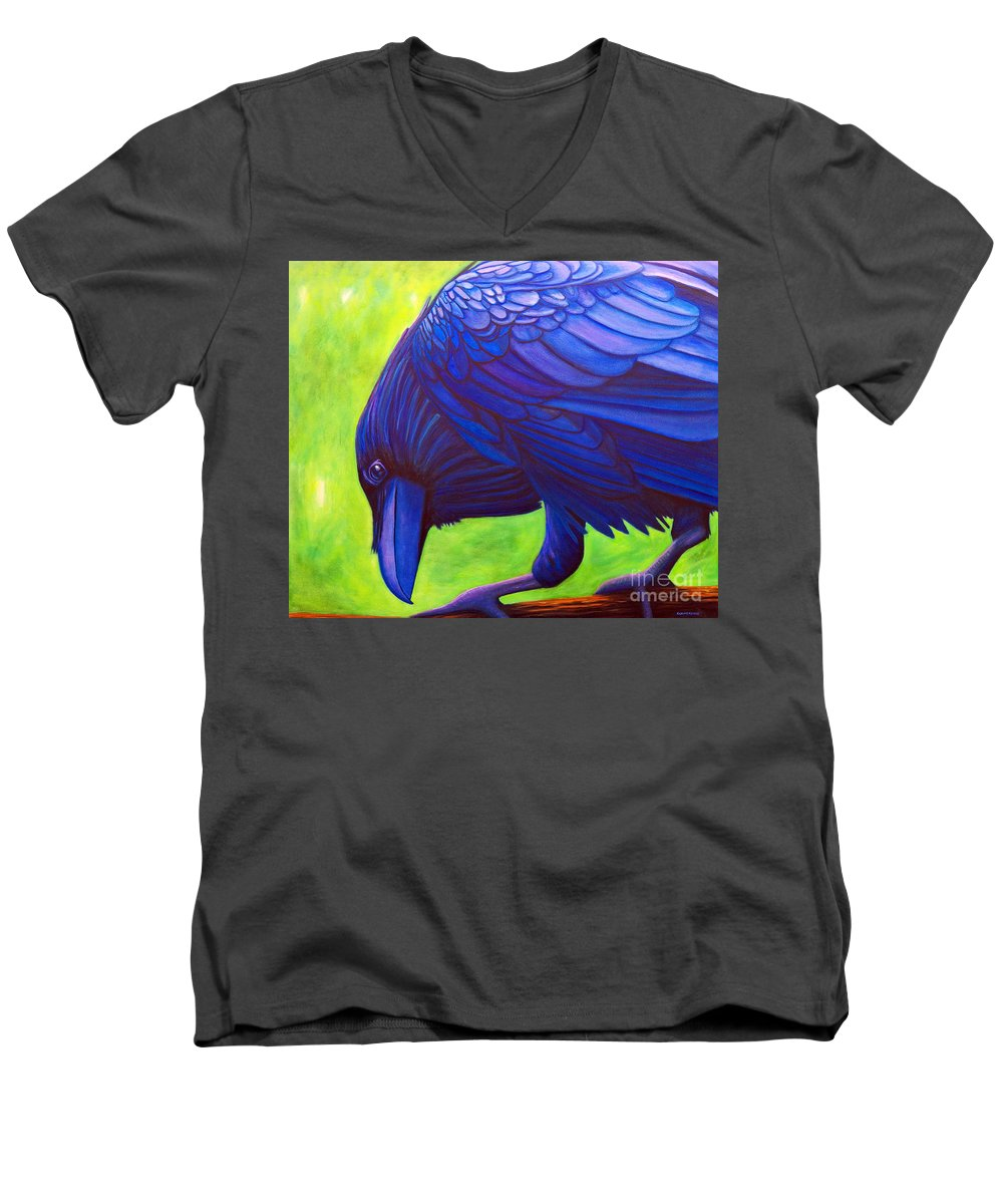 Raven Men's V-Neck T-Shirt featuring the painting The Witness by Brian Commerford