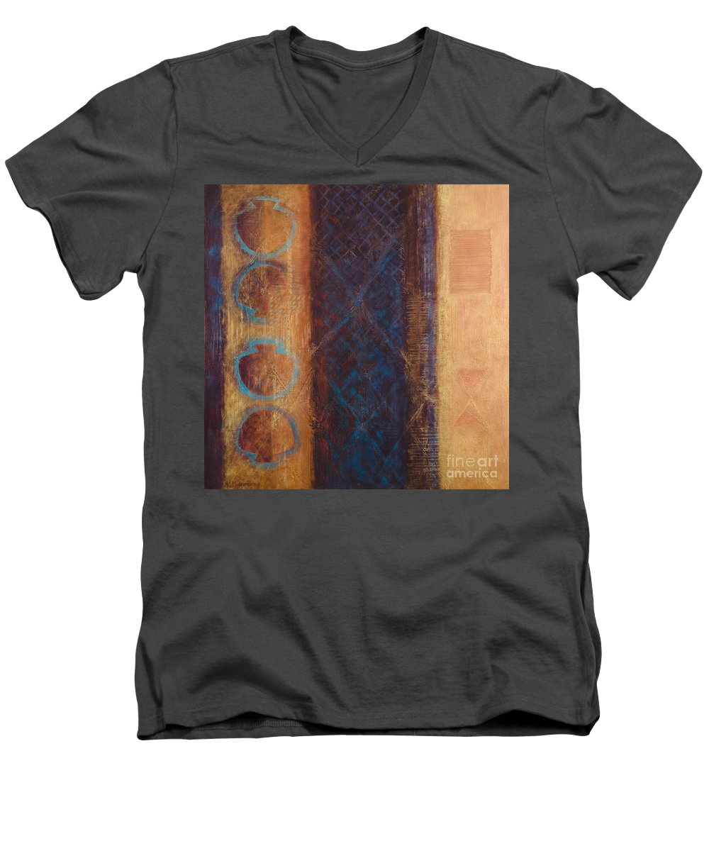 Abstract Men's V-Neck T-Shirt featuring the painting The X Factor Alchemy Of Consciousness by Kerryn Madsen-Pietsch