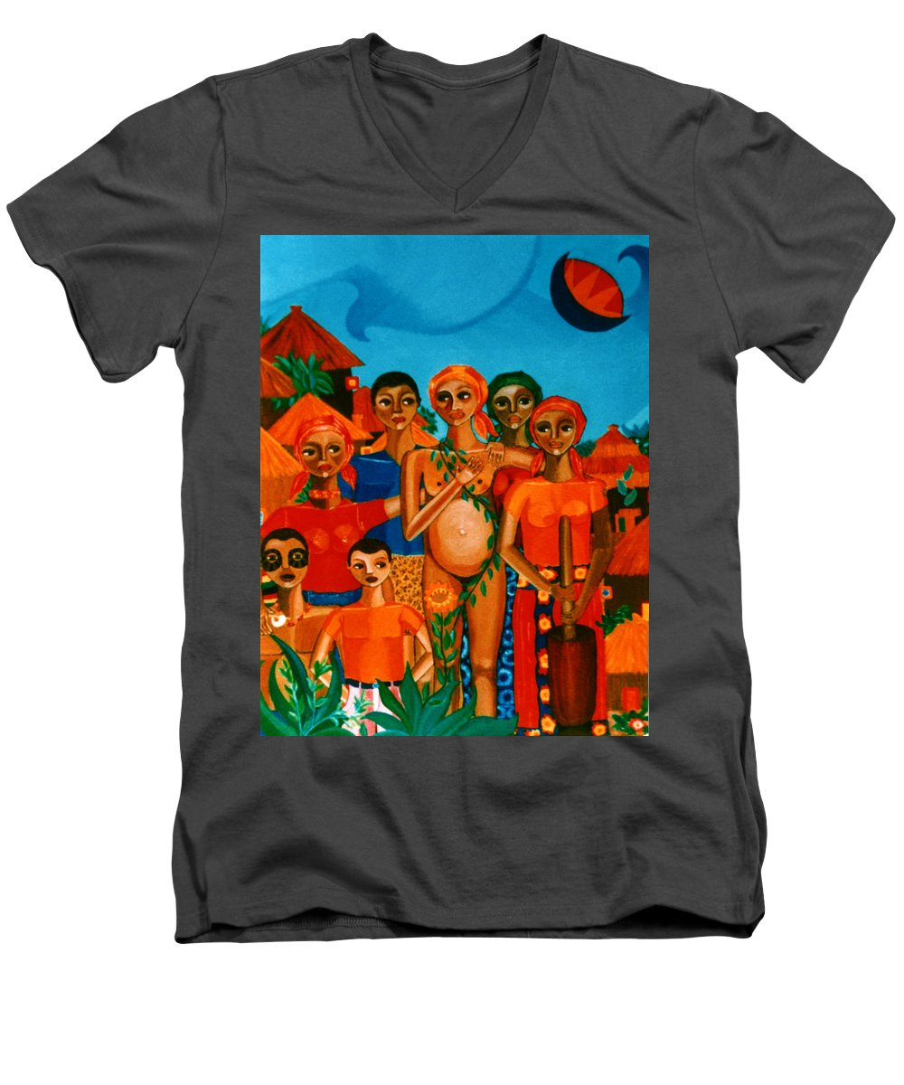 Pregnant Women Men's V-Neck T-Shirt featuring the painting There Are Always Sunflowers For Those Waiting A New Life by Madalena Lobao-Tello