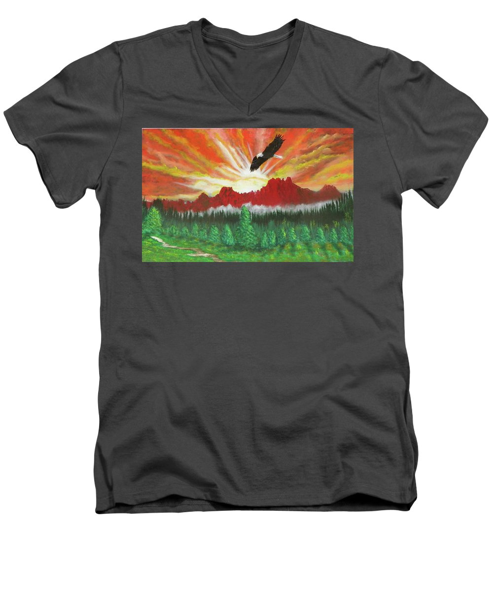 Acrylic Men's V-Neck T-Shirt featuring the painting They That Wait Upon The Lord  Isa 40 31 by Laurie Kidd