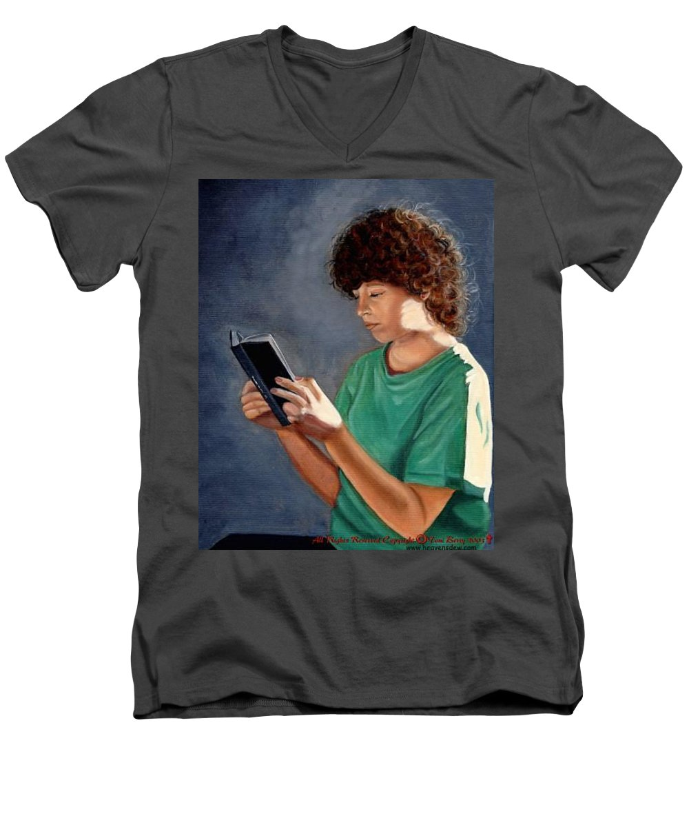 Portrait Men's V-Neck T-Shirt featuring the painting Thirst For Knowledge by Toni Berry