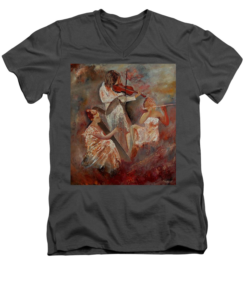Music Men's V-Neck T-Shirt featuring the painting Three Musicians by Pol Ledent