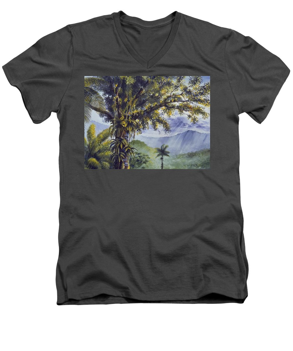 Chris Cox Men's V-Neck T-Shirt featuring the painting Through The Canopy by Christopher Cox