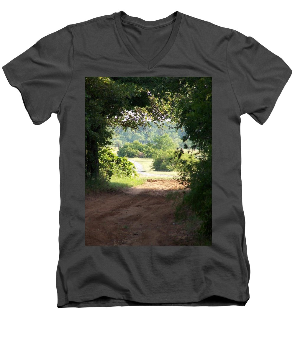 Woods Men's V-Neck T-Shirt featuring the photograph Through The Woods by Gale Cochran-Smith