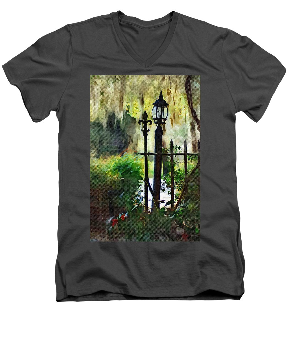 Gate Men's V-Neck T-Shirt featuring the digital art Thru The Gate by Donna Bentley