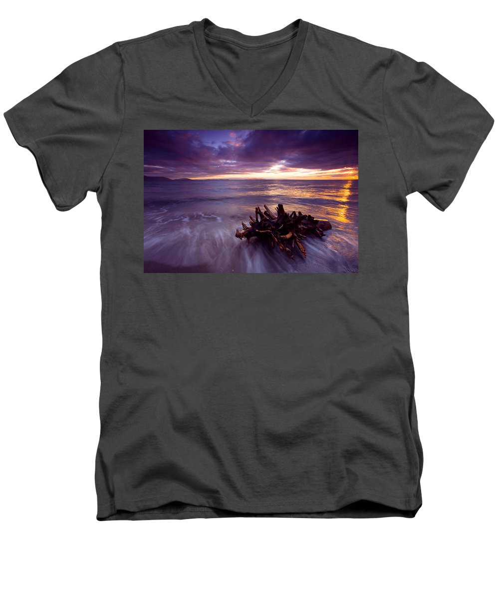 Sunset Men's V-Neck T-Shirt featuring the photograph Tide Driven by Mike Dawson
