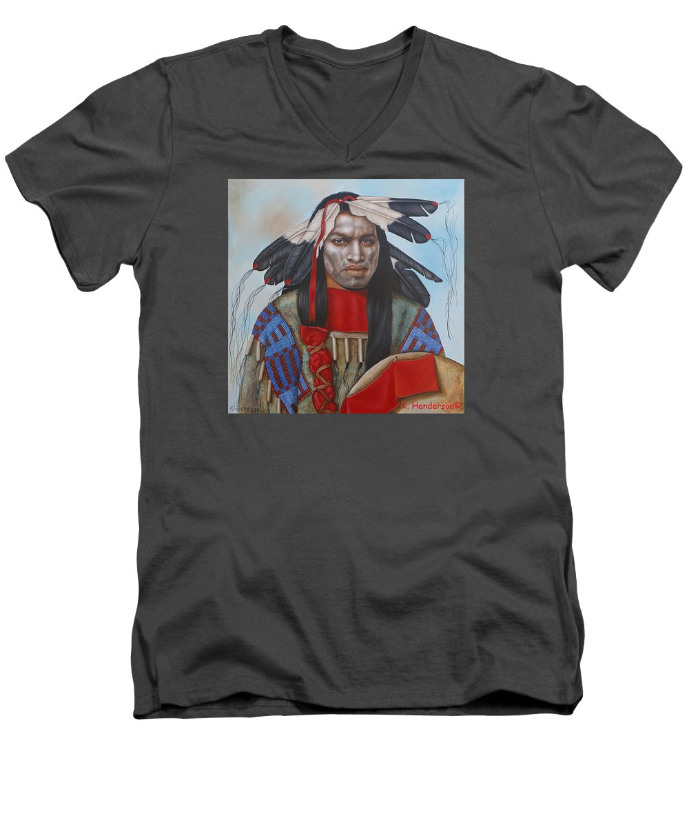 American Indian Men's V-Neck T-Shirt featuring the painting Time Is At Hand by K Henderson