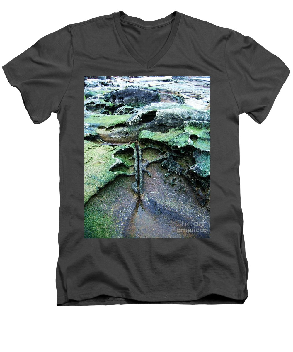 Photograph Rock Beach Ocean Men's V-Neck T-Shirt featuring the photograph Time Washed Out by Seon-Jeong Kim