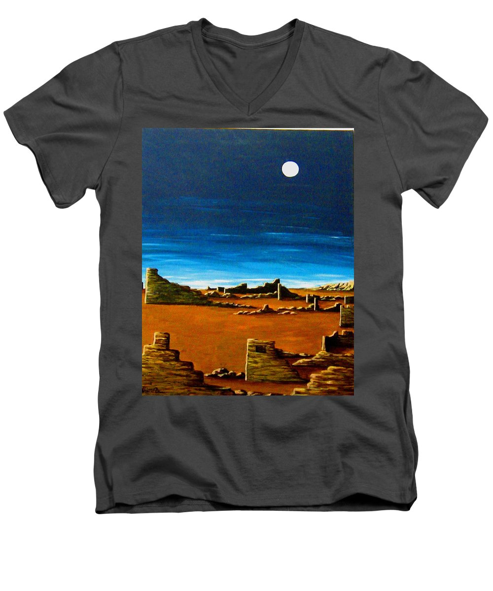 Anasazi Men's V-Neck T-Shirt featuring the painting Timeless by Diana Dearen