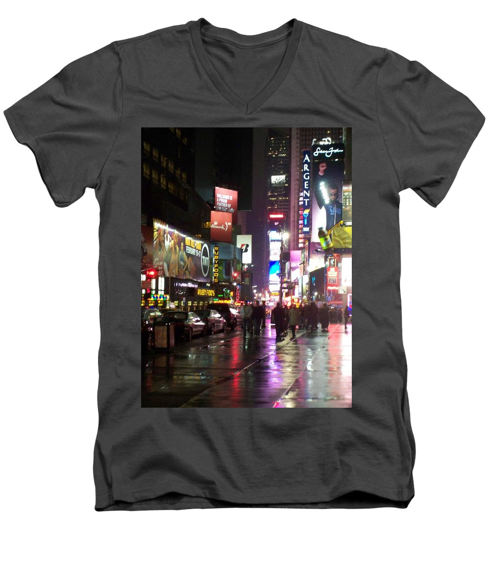 Times Square Men's V-Neck T-Shirt featuring the photograph Times Square In The Rain 1 by Anita Burgermeister