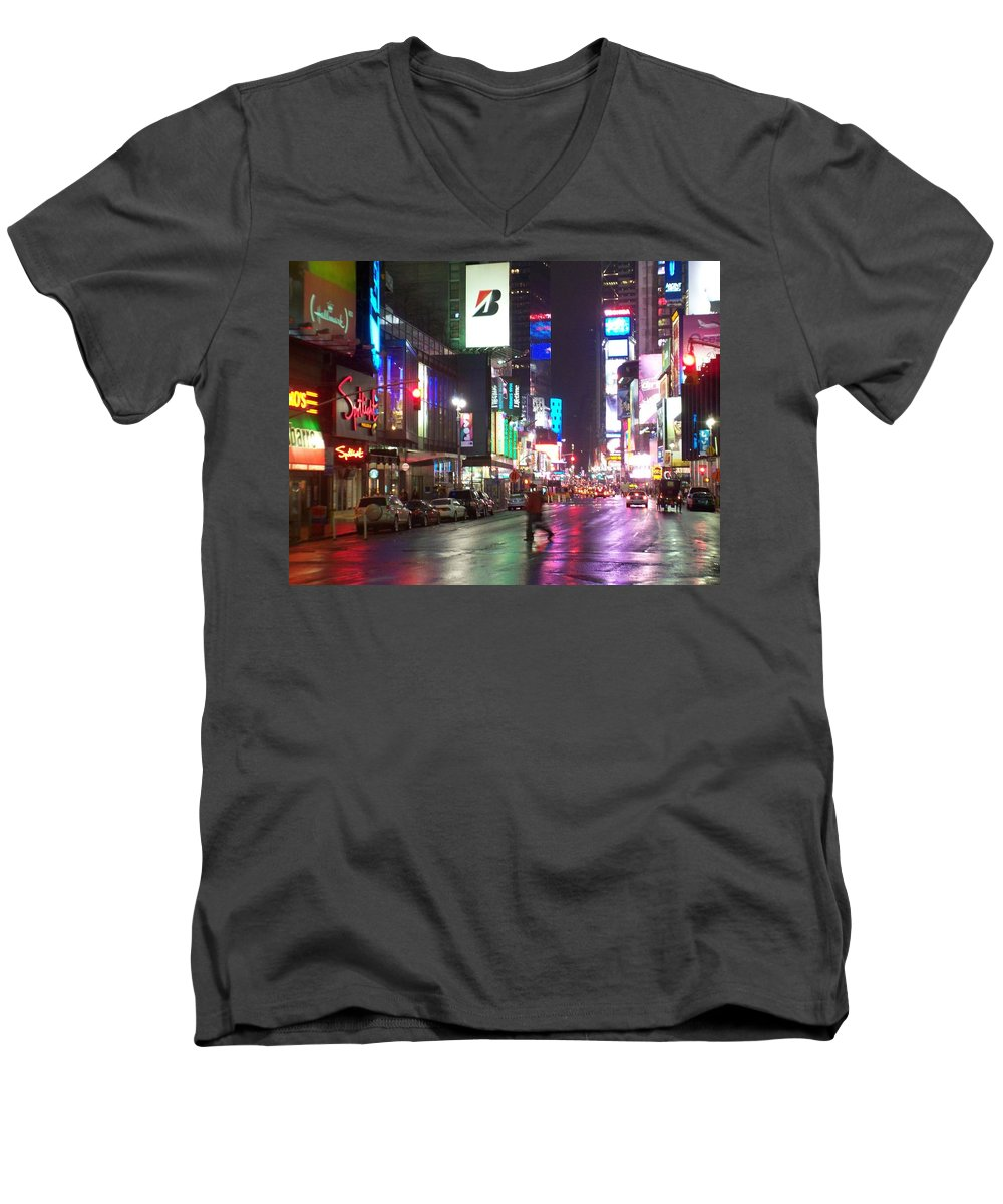 Times Square Men's V-Neck T-Shirt featuring the photograph Times Square In The Rain 2 by Anita Burgermeister