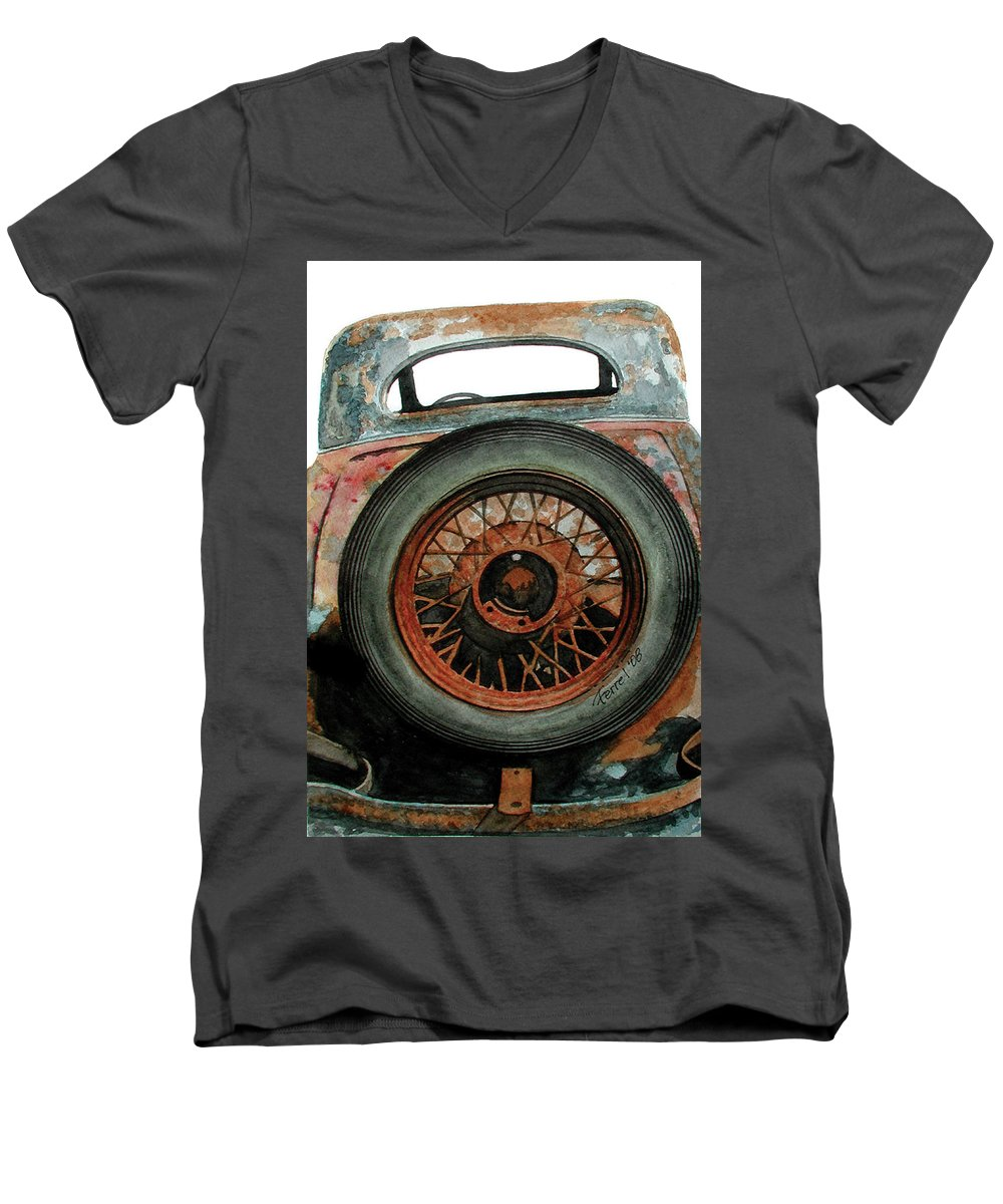 Car Men's V-Neck T-Shirt featuring the painting Tired by Ferrel Cordle