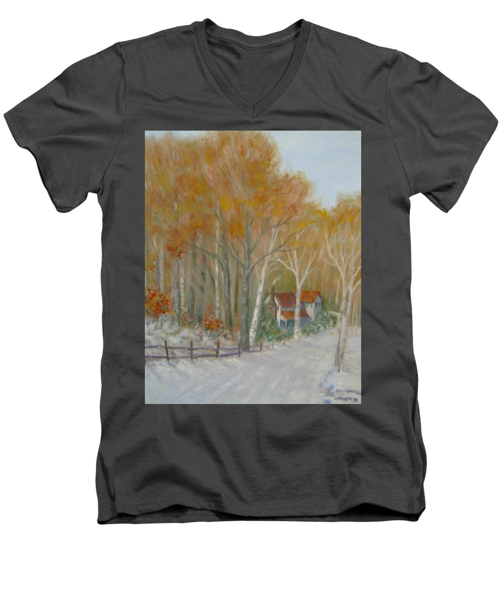 Country Road; House; Snow Men's V-Neck T-Shirt featuring the painting To Grandma's House by Ben Kiger