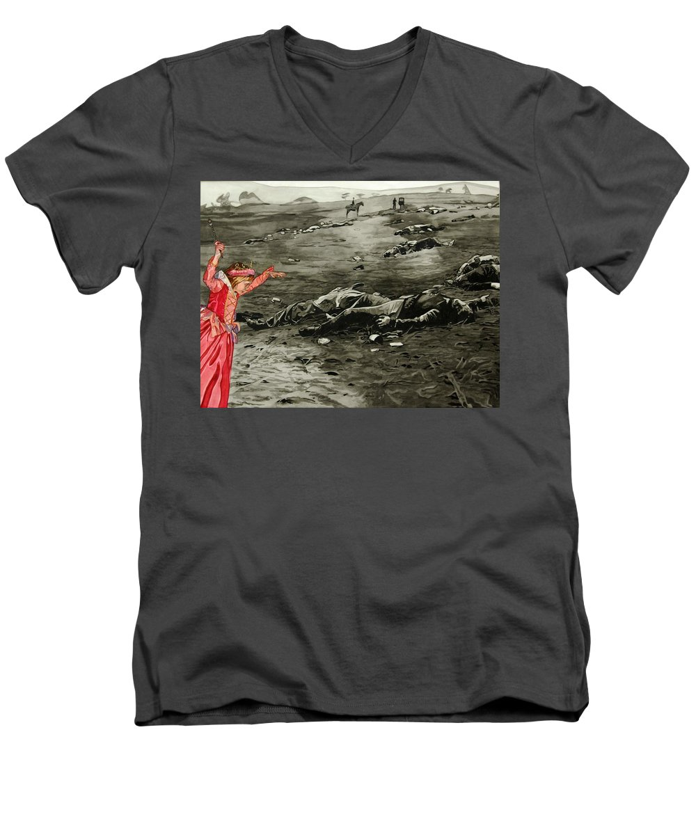 War Men's V-Neck T-Shirt featuring the painting Too Late by Valerie Patterson