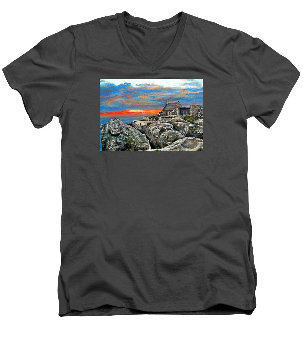 Sunset Men's V-Neck T-Shirt featuring the painting Top Of Table Mountain by Michael Durst