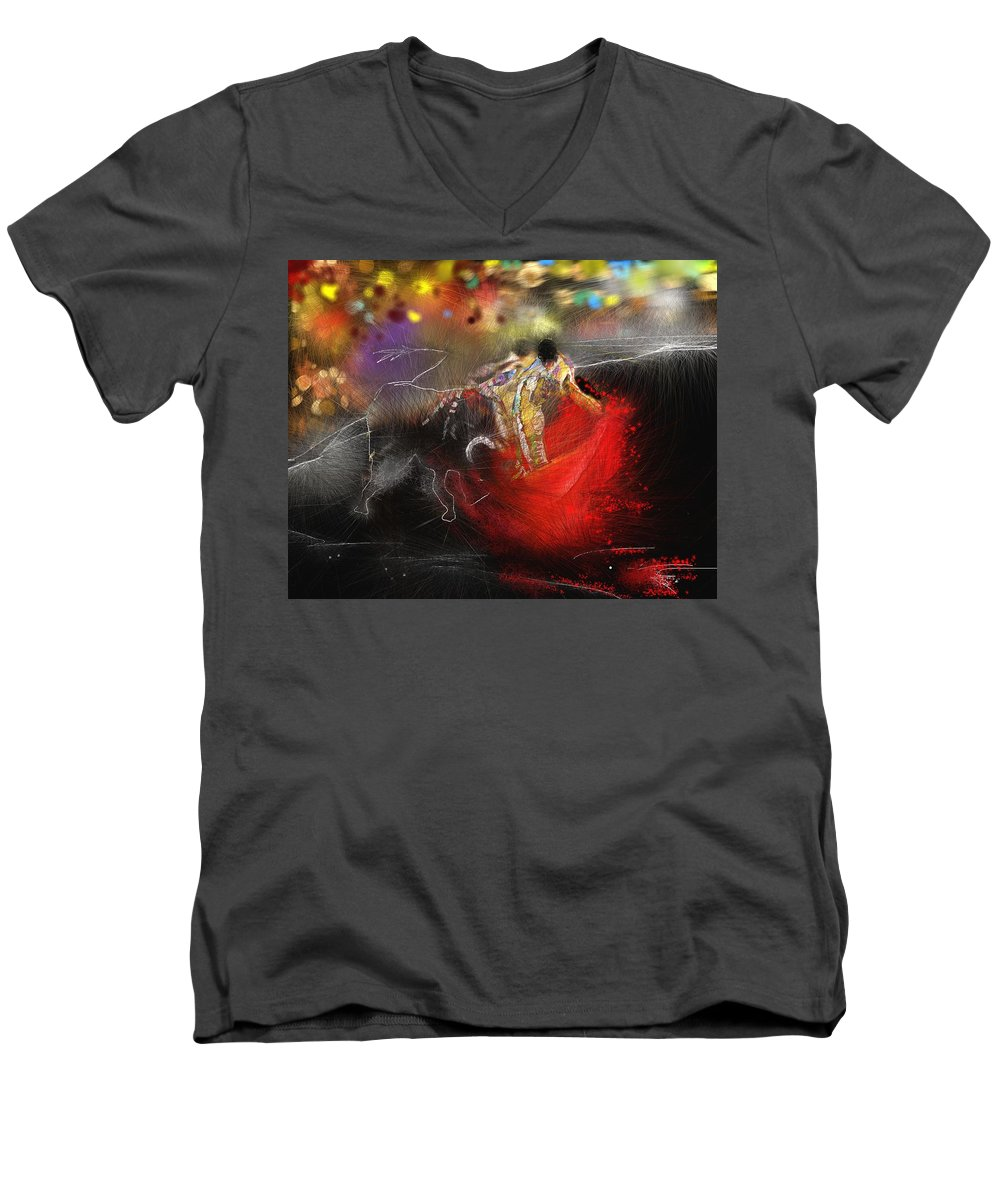 Animals Men's V-Neck T-Shirt featuring the painting Toroscape 18 by Miki De Goodaboom