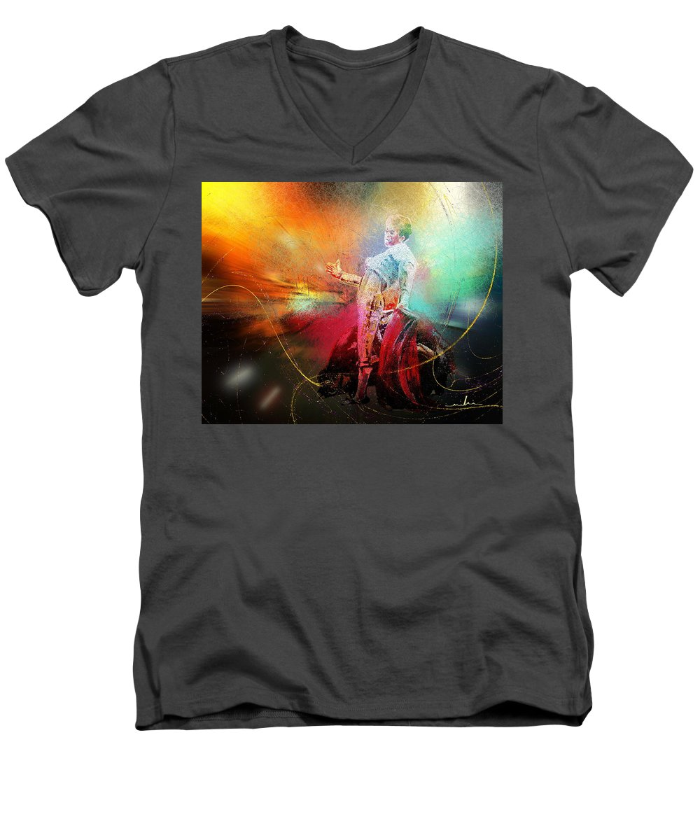 Animals Men's V-Neck T-Shirt featuring the painting Toroscape 25 by Miki De Goodaboom