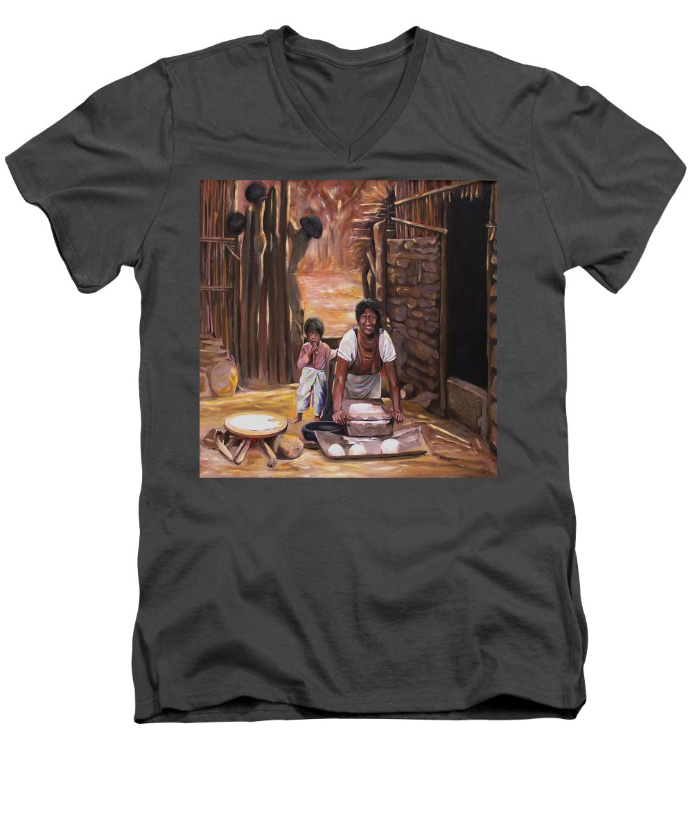 Mexican Men's V-Neck T-Shirt featuring the painting Tortillas De Madre by Nancy Griswold