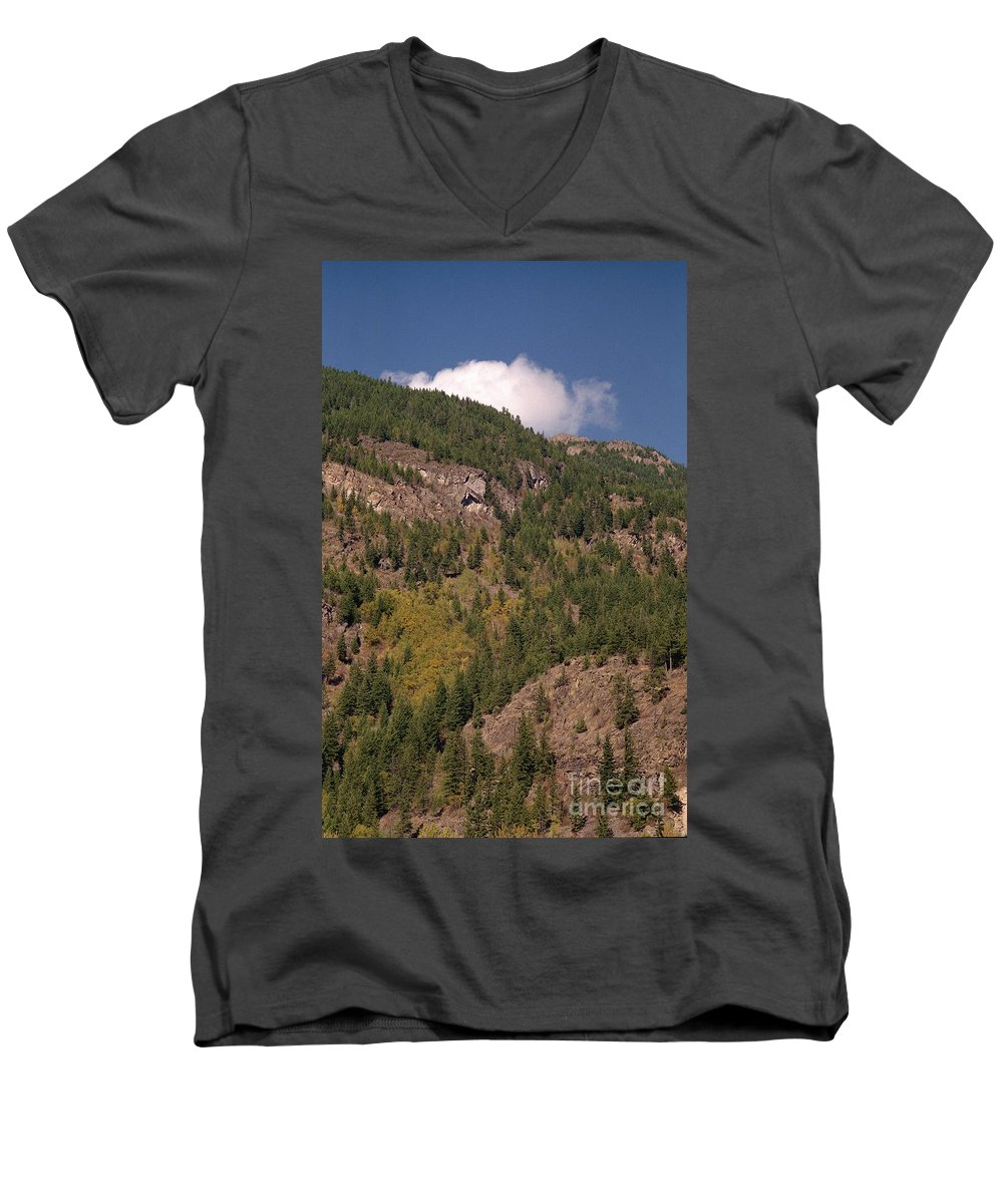 Mountains Men's V-Neck T-Shirt featuring the photograph Touching The Clouds by Richard Rizzo
