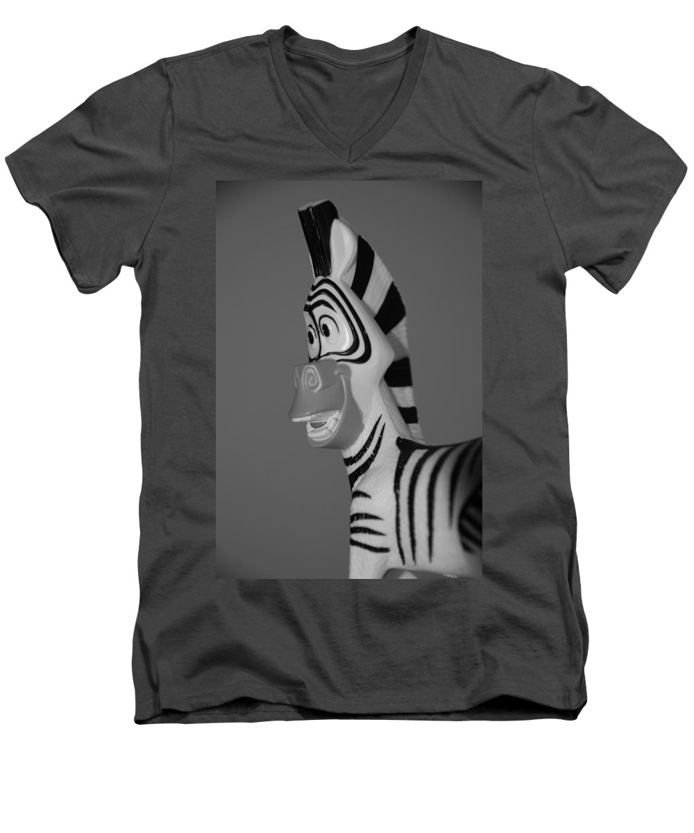 Black And White Men's V-Neck T-Shirt featuring the photograph Toy Zebra by Rob Hans
