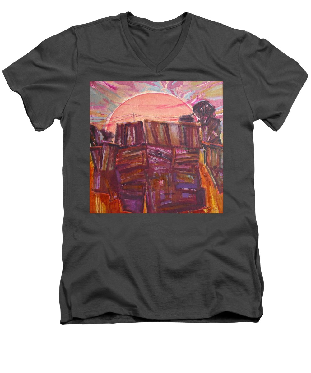 Oil Men's V-Neck T-Shirt featuring the painting Tracks by Sergey Ignatenko