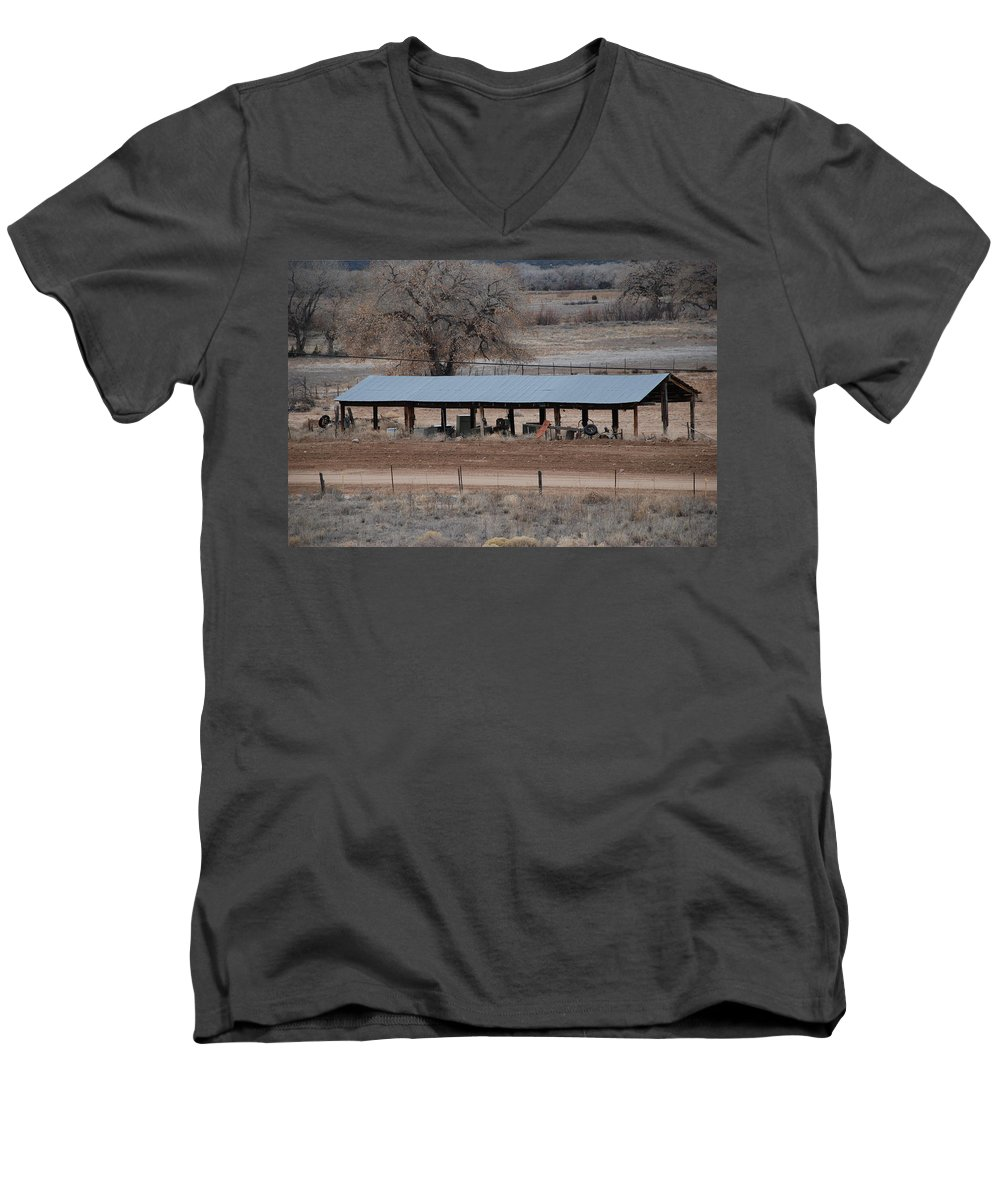 Architecture Men's V-Neck T-Shirt featuring the photograph Tractor Port On The Ranch by Rob Hans