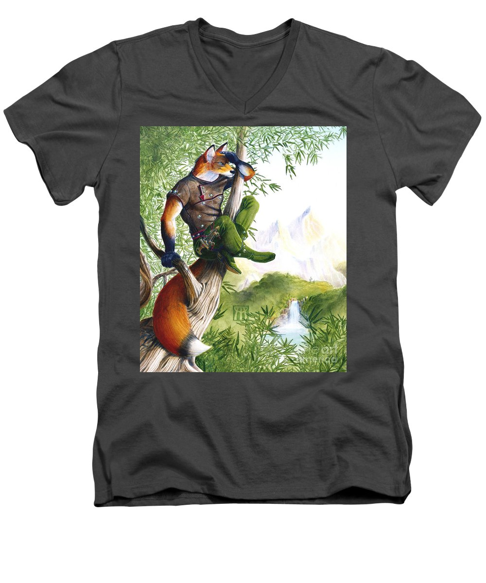 Fantasy Men's V-Neck T-Shirt featuring the painting Trail Blazing Fox by Melissa A Benson