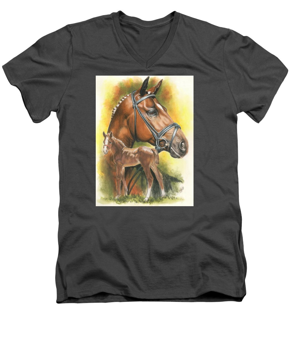Jumper Hunter Men's V-Neck T-Shirt featuring the mixed media Trakehner by Barbara Keith