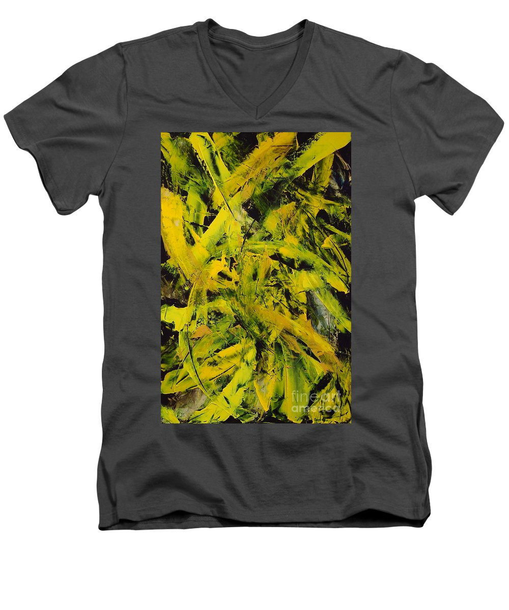 Abstract Men's V-Neck T-Shirt featuring the painting Transitions Vi by Dean Triolo