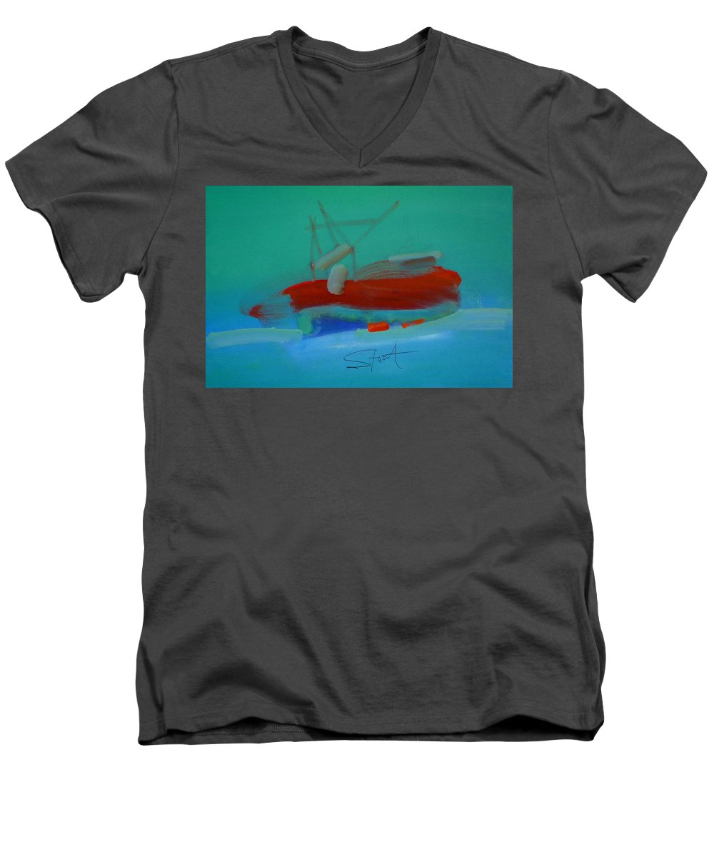 Fishing Boat Men's V-Neck T-Shirt featuring the painting Trawler by Charles Stuart