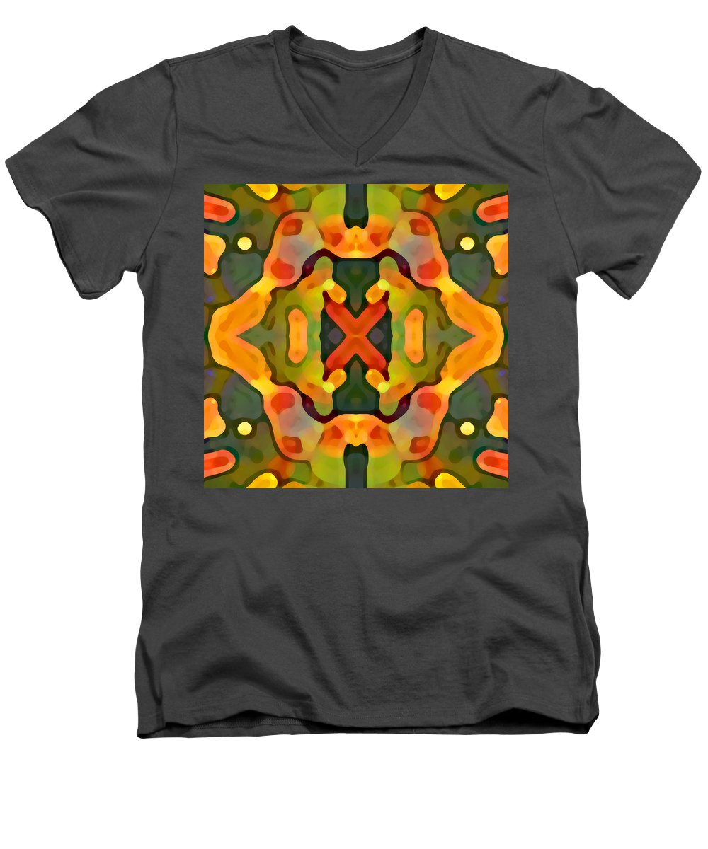 Abstract Men's V-Neck T-Shirt featuring the painting Treasure by Amy Vangsgard