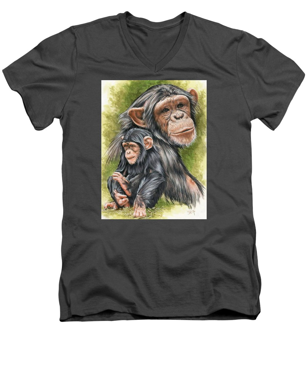 Chimpanzee Men's V-Neck T-Shirt featuring the mixed media Treasure by Barbara Keith