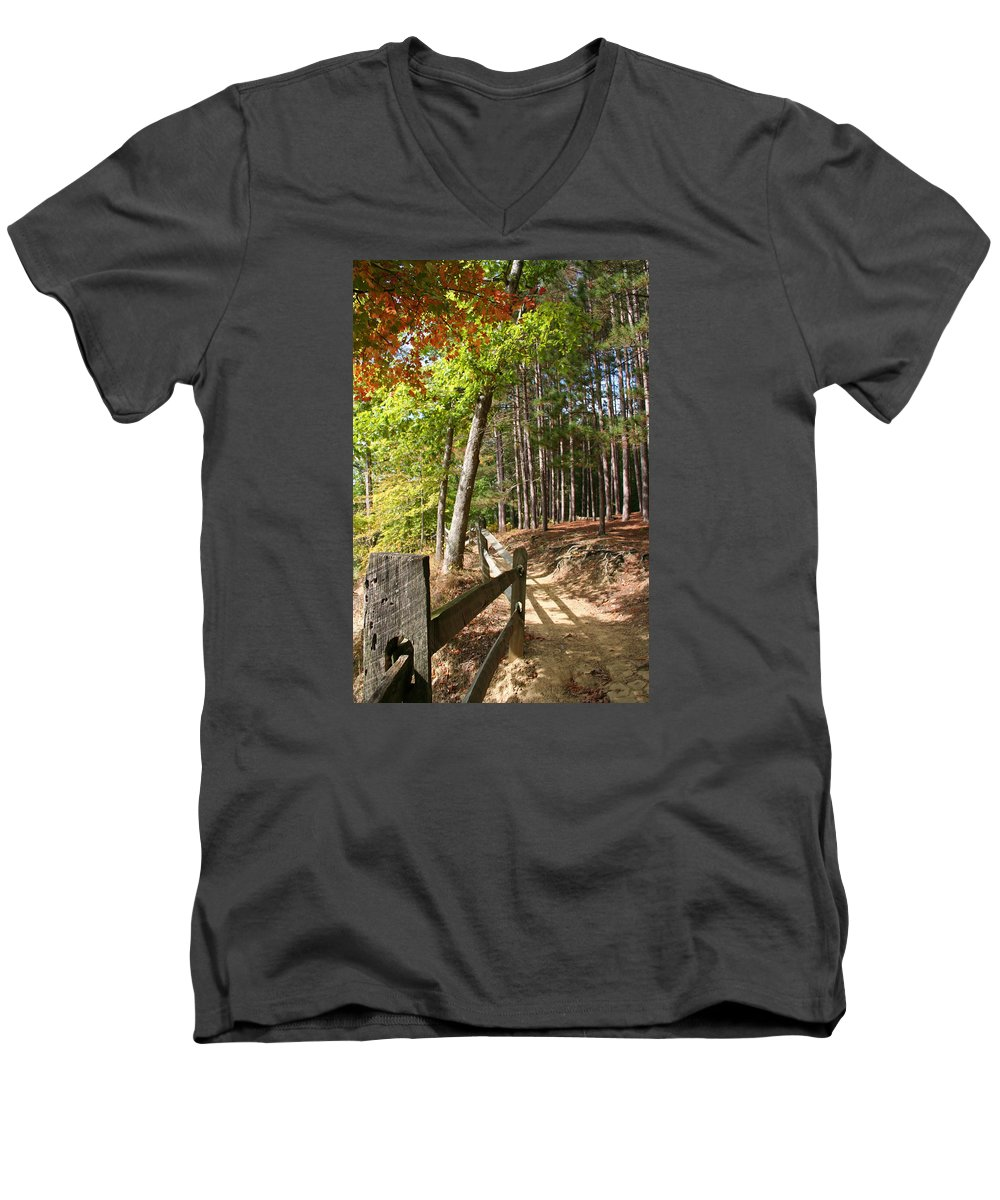 Tree Men's V-Neck T-Shirt featuring the photograph Tree Trail by Margie Wildblood