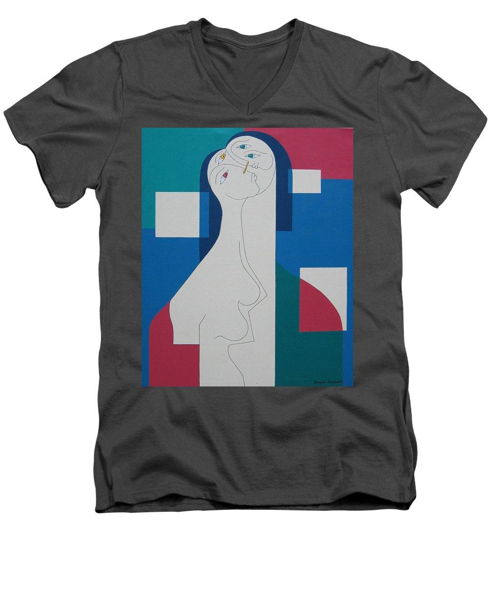 Modern Women Bleu Green Red Humor Men's V-Neck T-Shirt featuring the painting Trio by Hildegarde Handsaeme