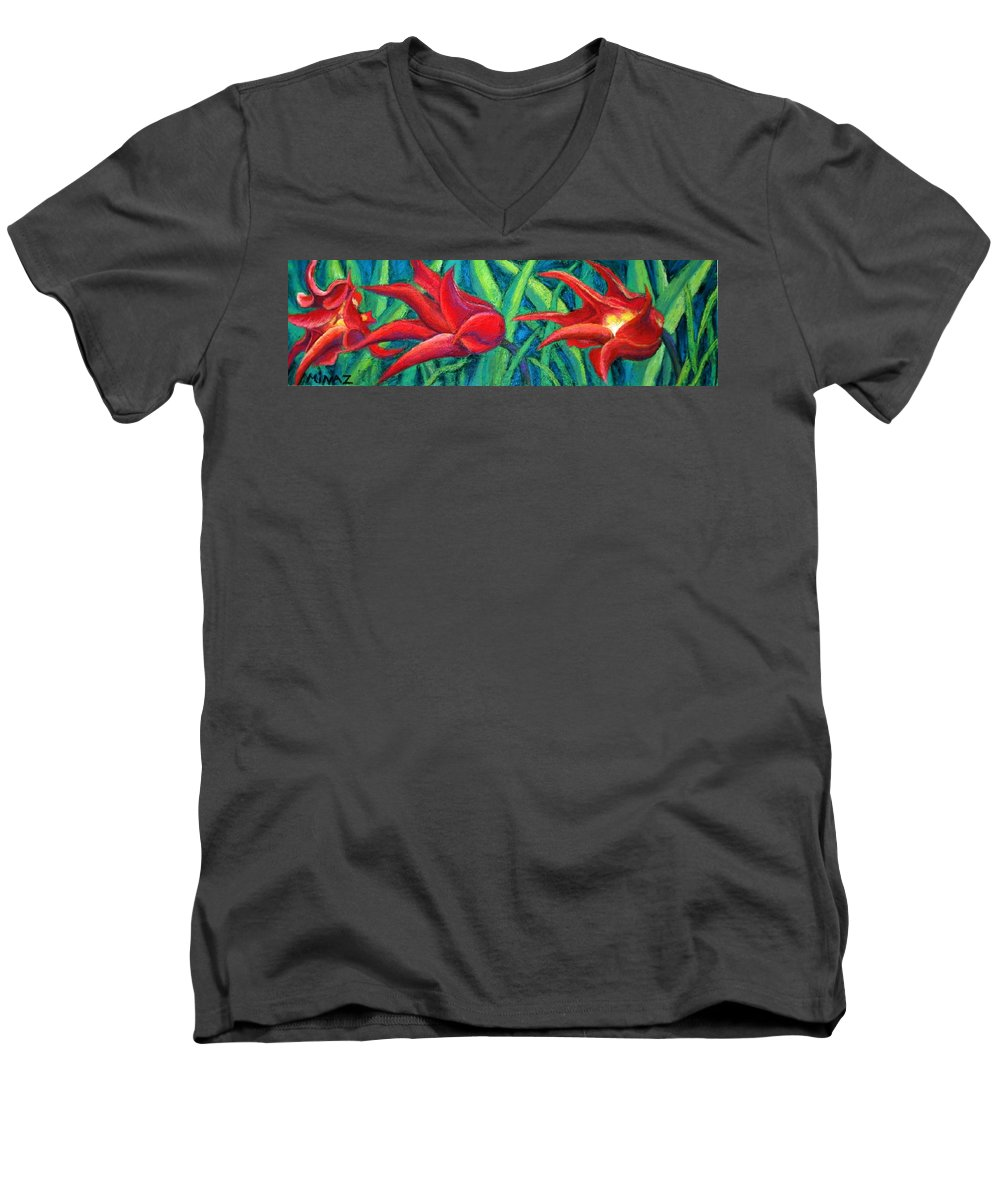 Tulips Men's V-Neck T-Shirt featuring the painting Triple Tease Tulips by Minaz Jantz
