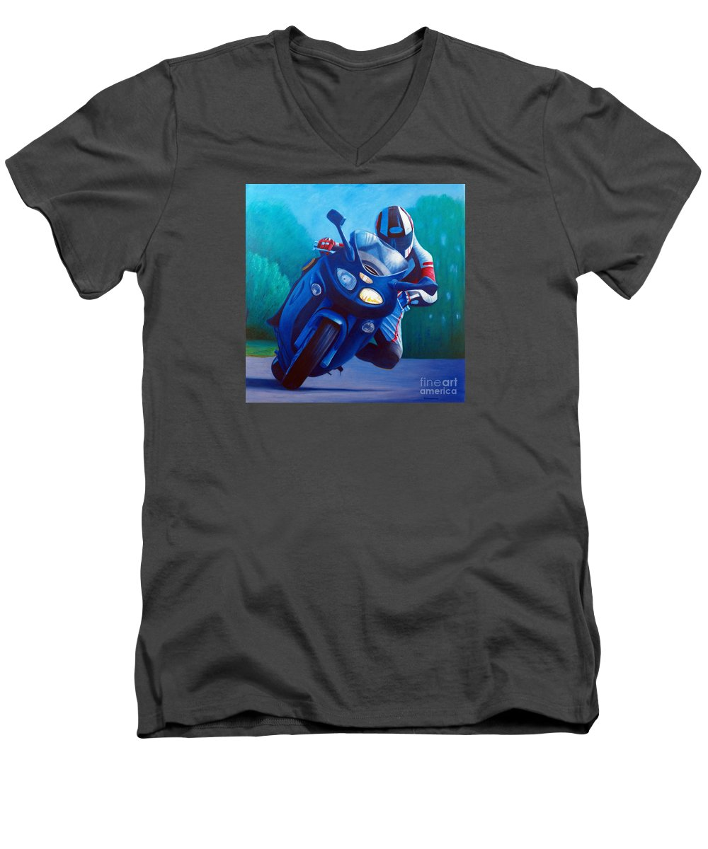 Motorcycle Men's V-Neck T-Shirt featuring the painting Triumph Sprint - Franklin Canyon by Brian Commerford