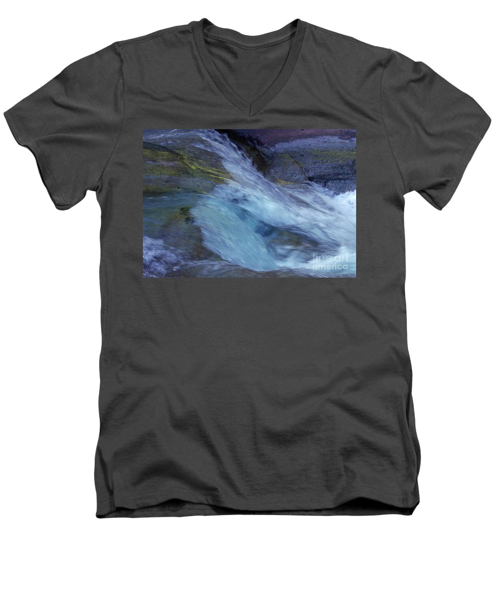 Nature Men's V-Neck T-Shirt featuring the photograph Tropical Flowing Waters by Kerryn Madsen- Pietsch
