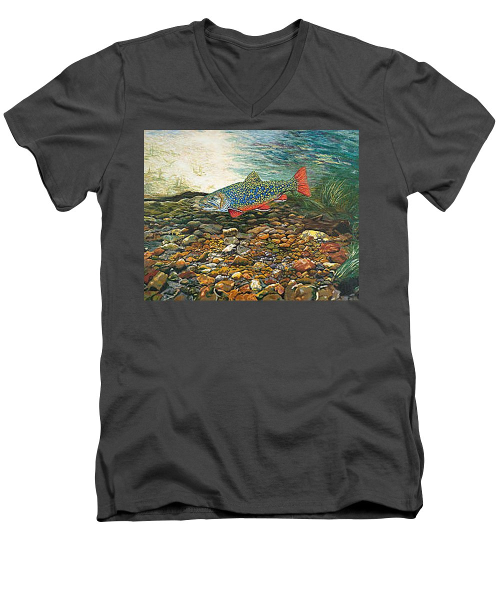 Art Men's V-Neck T-Shirt featuring the painting Trout Art Fish Art Brook Trout Suspended Artwork Giclee Fine Art Print by Baslee Troutman