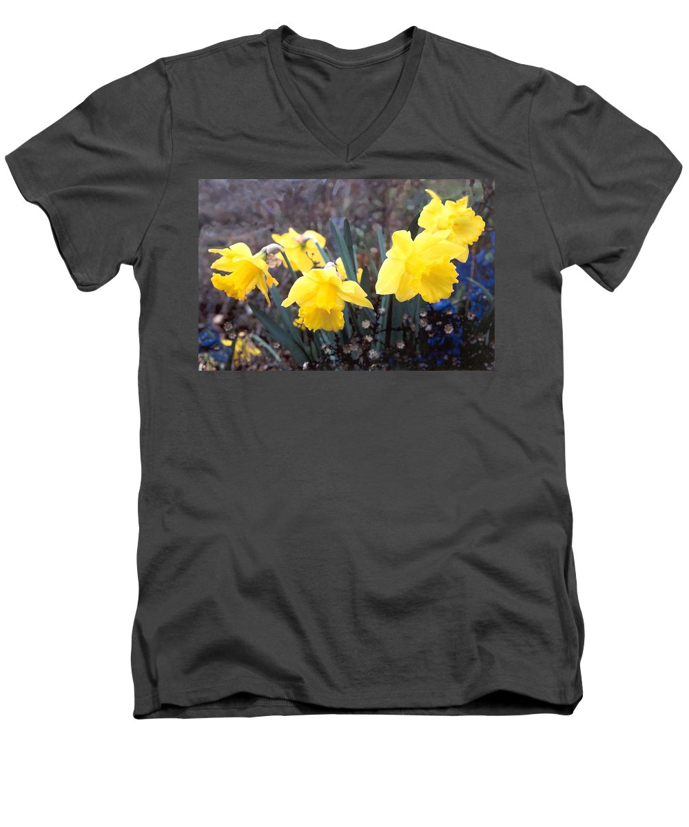 Flowes Men's V-Neck T-Shirt featuring the photograph Trumpets Of Spring by Steve Karol